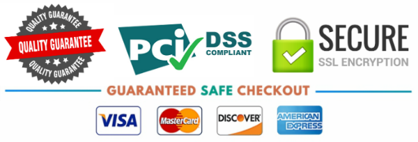 SSL Secure Checkout. We Accept Visa, Mastercard, AMEX, and Discover.